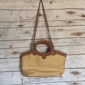 Fossil • straw wicker tan crossbody bag purse